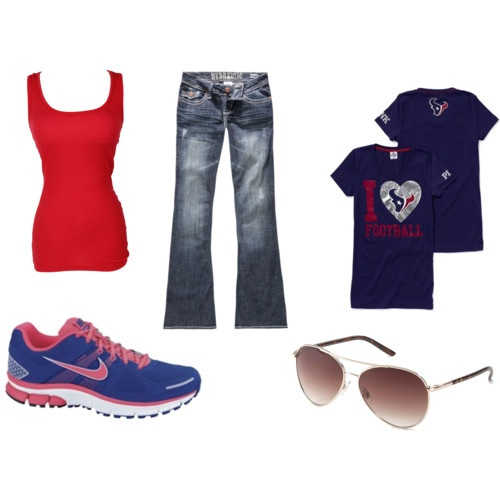 Texans football wear! I need all this for game days lol just missing handbag and facepaint