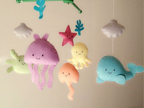"Baby crib mobile, sea animal mobile, ocean mobile ""Under the Sea"" - Jellyfish, Octopus,Whale, Ray, Crab, Starfish"