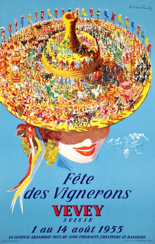 """1955 Vignard Festival in Vevey, on the Lake of Geneva. The complete Corso is featured on the traditional hat of a young lady with grapes on her ears. Every 25 year, the """"Fête des Vignerons"""" in Vevey is the Swiss most important one, since the 17th century,vintage poster"""
