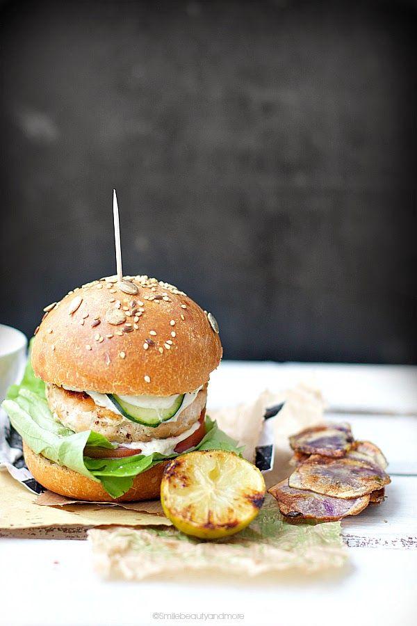 ... salmon burger with sourdough bread ...