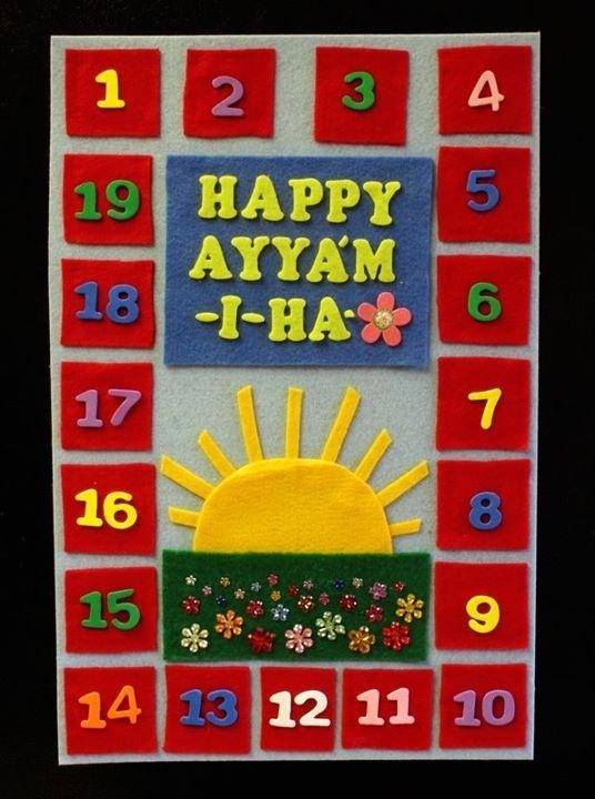 Lovely Ayyám-i-Há countdown calendar via Ingrid Swenson