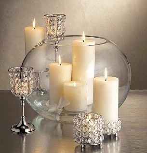 Simple yet elegant candle holders with crystals for centerpiece idea