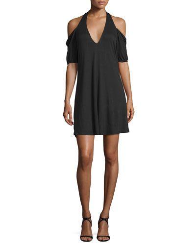TC0EC Haute Hippie Cold-Shoulder Modal Mini Dress, Black