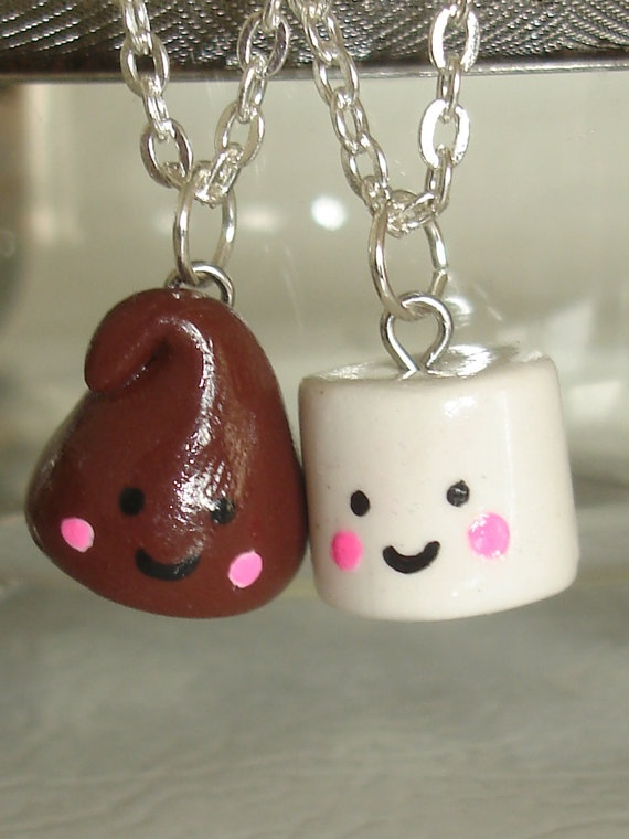 Polymer Clay Charms Chocolate Chip and Marshmellow by okazidesign, $20.00