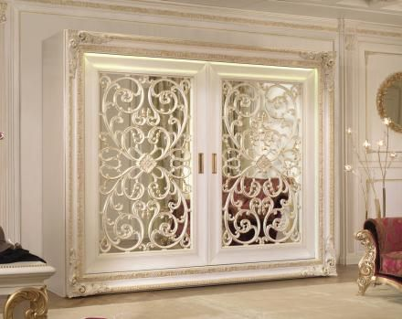 White sliding door wardrobe with grid and mirror