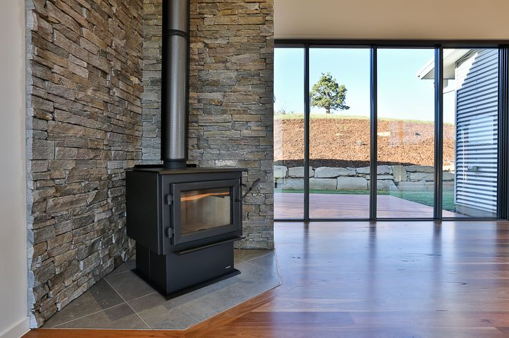 (c) Photo Sarah Whyte Photography  Stack Stone Feature Wall and Fireplace