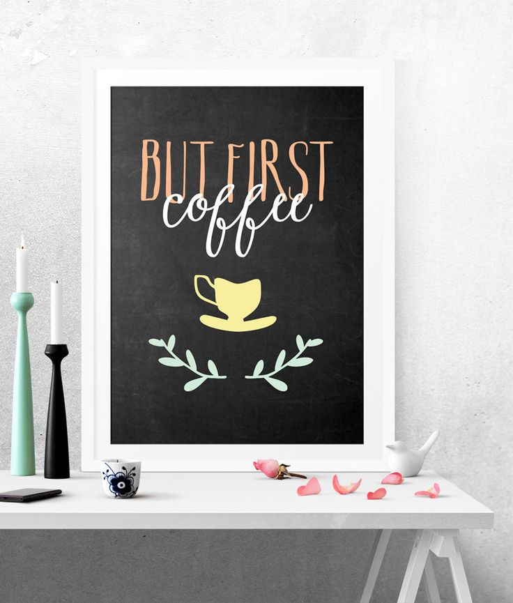 But First Coffee, Poster Caffé, Poster Lavagna, Verde e Giallo, Cucina Lavagna, Poster Cucina, Stampa Arredo, Coffee Poster, Caffè Stampa di planeta444 su Etsy