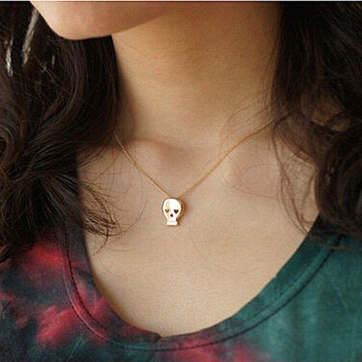 N124-5 Dễ Thương Skeleton Pendant Necklace Skull Tiny Trang Sức Phụ Nữ Xương Đòn Dây Chuyền Collares Phụ Kiện