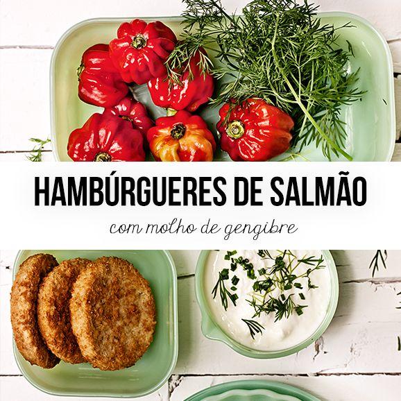 Hambúrgueres de salmão com molho de gengibre