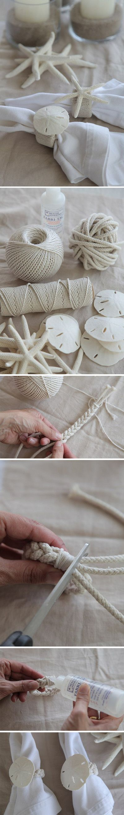 Tutorial to make a braided beach theme napkin ring.