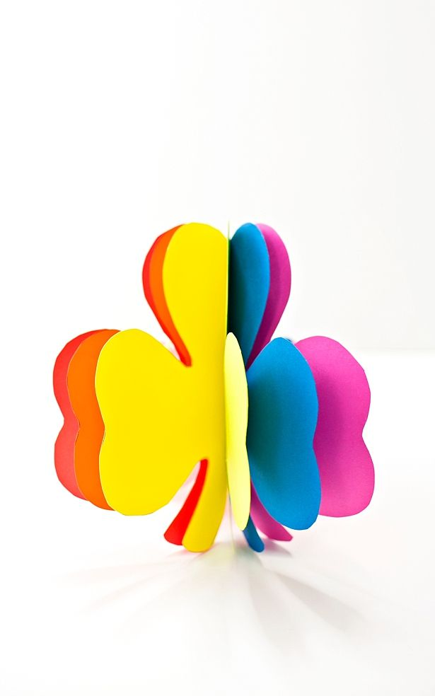 3d Rainbow Paper Shamrock Craft Speech Therapy Rainbow Paper