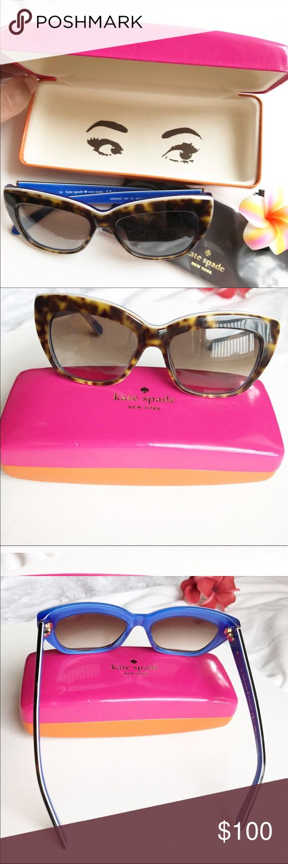 Kate Spade sunglasses Kate Spade New York Hello Sunshine Crimson blue cat frame sunglasses.  Frame is tortoise while the inside is blue.  No scratches on lens, comes with polish cloth in eyeglass case as seen.  Offers accepted. 🚫Trades kate spade Accessories Sunglasses