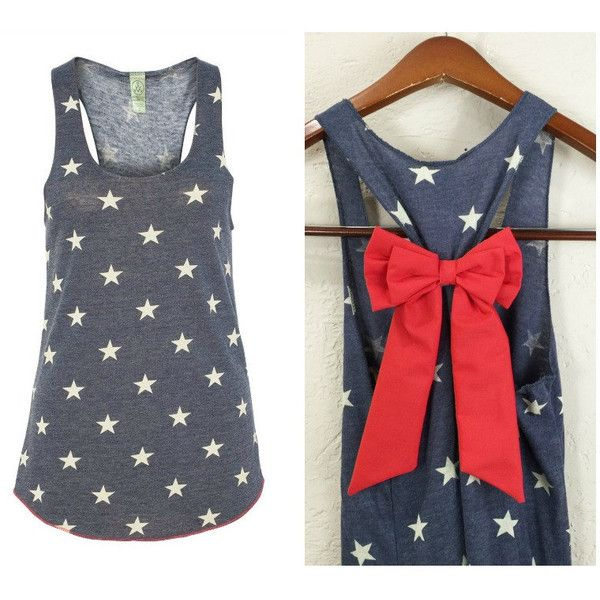 Bow Tank Top Star Tank Top 4th of July Tank American Flag Tank Top... ($27) ❤ liked on Polyvore featuring tops, tanks, grey, women's clothing, american flag shirt, grey tank top, american flag racerback tank, usa flag shirt and bleach shirt