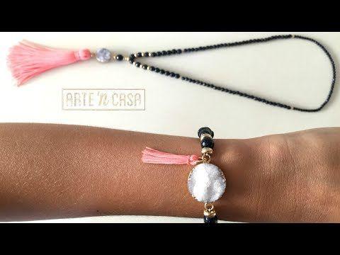 Collar y pulsera de cuentas aventurina azul, druzy y borla rosa - YouTube