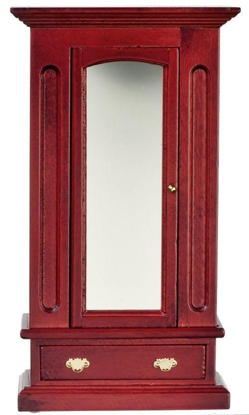 Luxury Schrank Garderobenschrank mit Spiegel mahagoni Puppenhaus Puppenstube