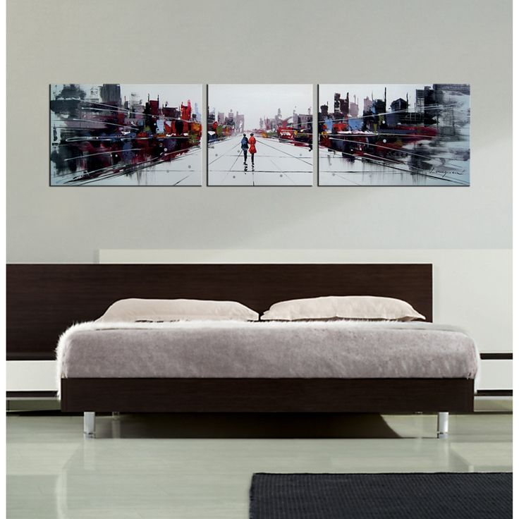 'Dream City' 3-piece Gallery-wrapped Hand Painted Canvas Art Set - Overstock™ Shopping - Big Discounts on Canvas
