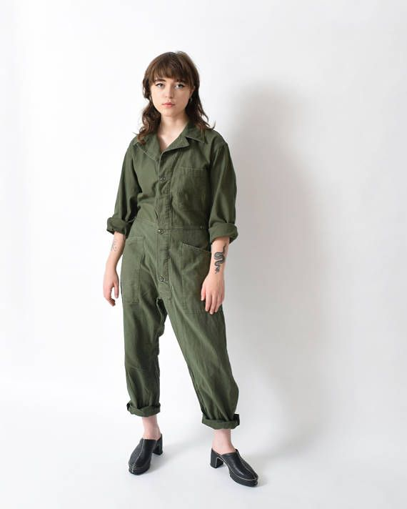 dc42765a0b8 Army Green Flight Suit Vintage Mechanic Coveralls Boiler Suit ...