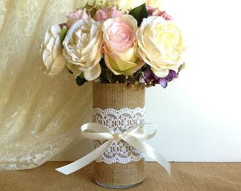 burlap and lace covered votive tea candles and vase by PinKyJubb