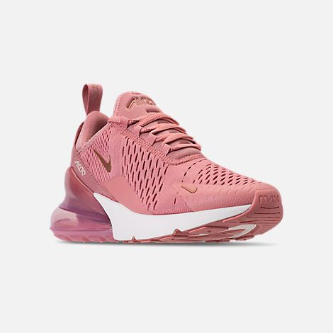 7aaf903af2 Three Quarter view of Women's Nike Air Max 270 Casual Shoes in Rust Pink/Metallic  Red Bronze/Sail