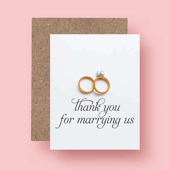 Wedding Officiant Thank You Card Thank you for marrying us Thank You Pastor- Gift for Officiant - Reverend Priest Deacon Rabbi Card by ofthingspretty
