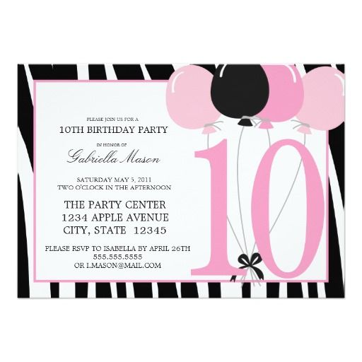 63 Best 10th Birthday Party Invitations Images 16th