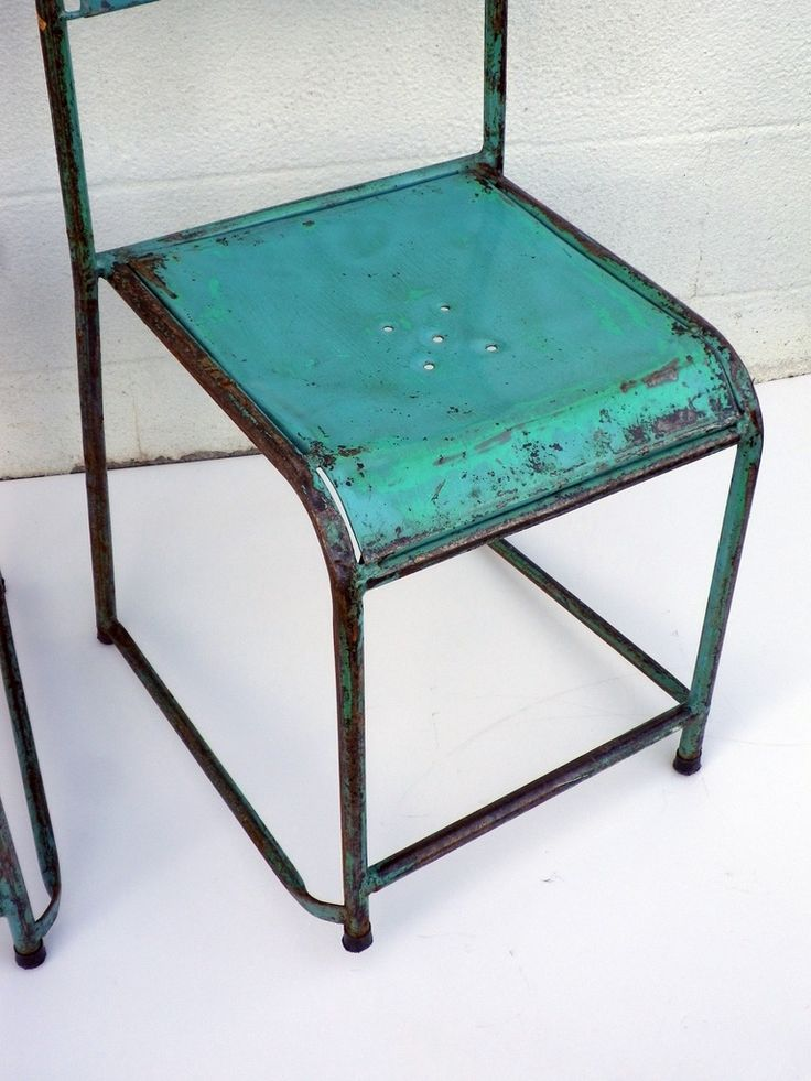 Metal Cafe Chairs, c. 1940 | From a unique collection of antique and modern side chairs at https://www.1stdibs.com/furniture/seating/side-chairs/