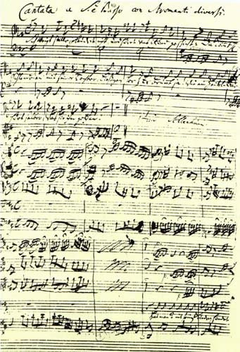 coffee cantata bach musical score written in his own hand.. found here.
