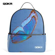 QOKR vrouwen vlinder onder de sky printing rugzakken canvas schooltassen voor meisjes en jongens blauw functionele schouder blauwe zak(China)