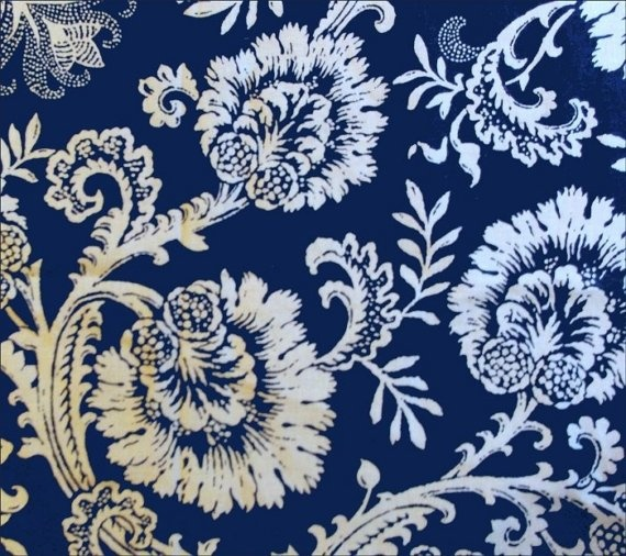 Pretty Waverly Damask Print Fabric Navy Blue By