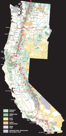 The Pacific Crest Trail is a long-distance hiking and equestrian trail running inland through the Sierra Nevada and Cascade mountain ranges of the US Pacific states, between the US borders with Mexico and Canada.  map by USFS and EncMstr