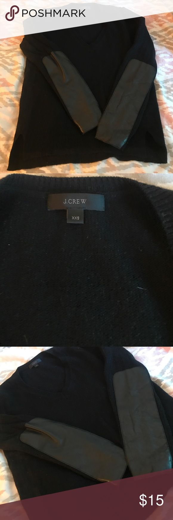 Leather elbow patch sweater J.Crew J.Crew V-Neck sweatshirt with leather elbow patches J. Crew Sweaters V-Necks
