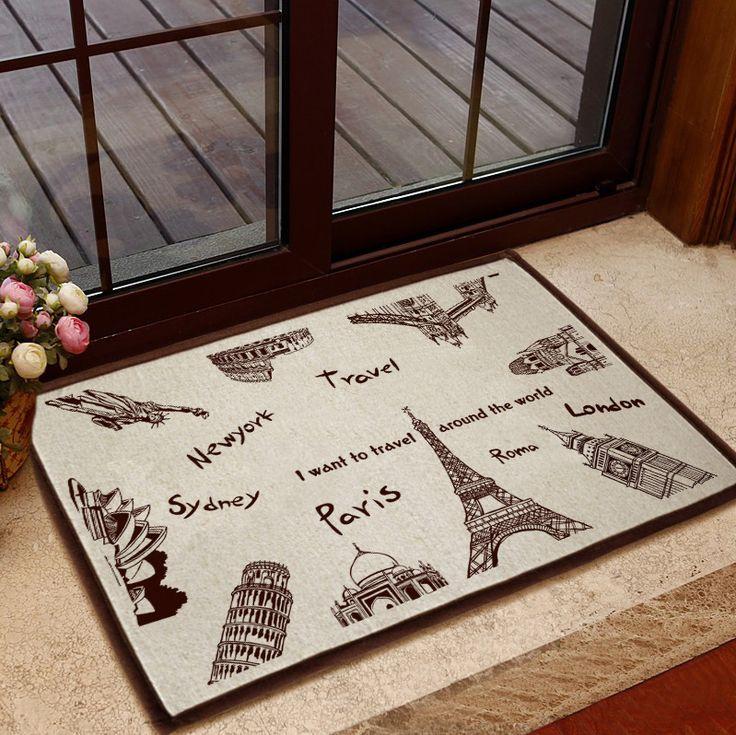 paris+bathroom+mats | vintage kitchen rug anti-slip bath carpet cotton hemp hallway doormat ...