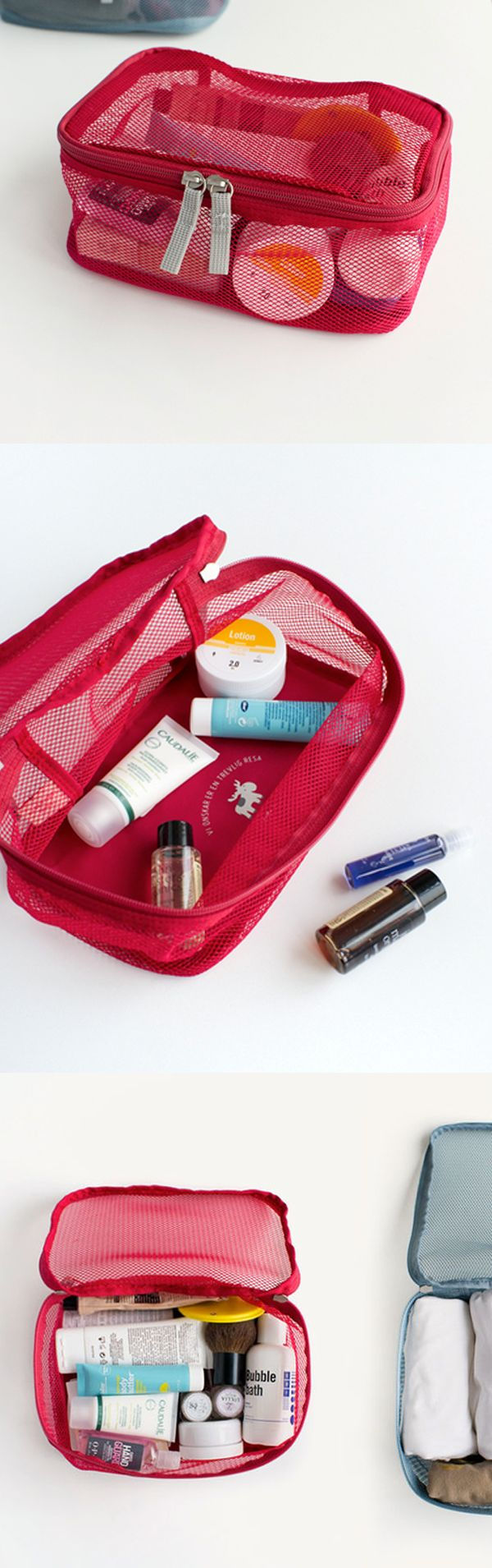 The Small Luggage Mesh Bag is a wonderful pouch to carry small travel items! The extended zipper allows you to easily put and take out items from the bag. It's also great for carrying your everyday items!