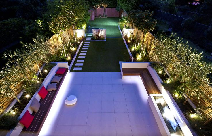 Striking modern garden design divided into three sections for a long thin family garden in Strawberry Hill, Twickenham, West London.