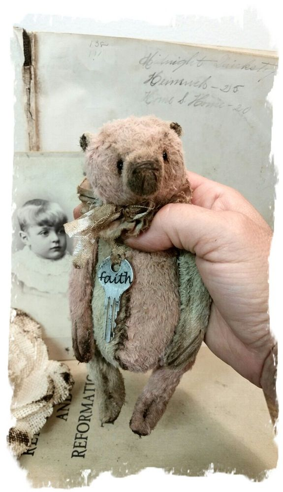 "Image of FAITH - Antique Style 7"" Old Cream & PiNK Teddy Bear Pouty Face * By Whendi's Bears"