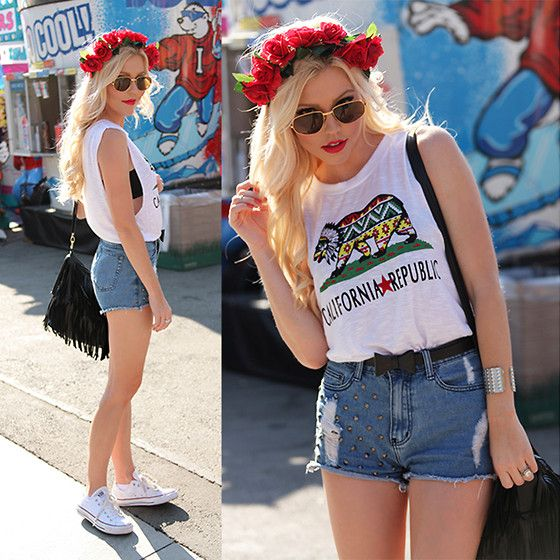 I'm Haute Red Rose Flower Crown, Cartier 18kt Gold Vintage Sunglasses, I'm Haute California Republic Muscle Tank, I'm Haute Black Fringe Hobo Bag, I'm Haute Studded High Waisted Cutoff Shorts, I'm Haute White Converse, I'm Haute Studded Silver Cuff Bracel