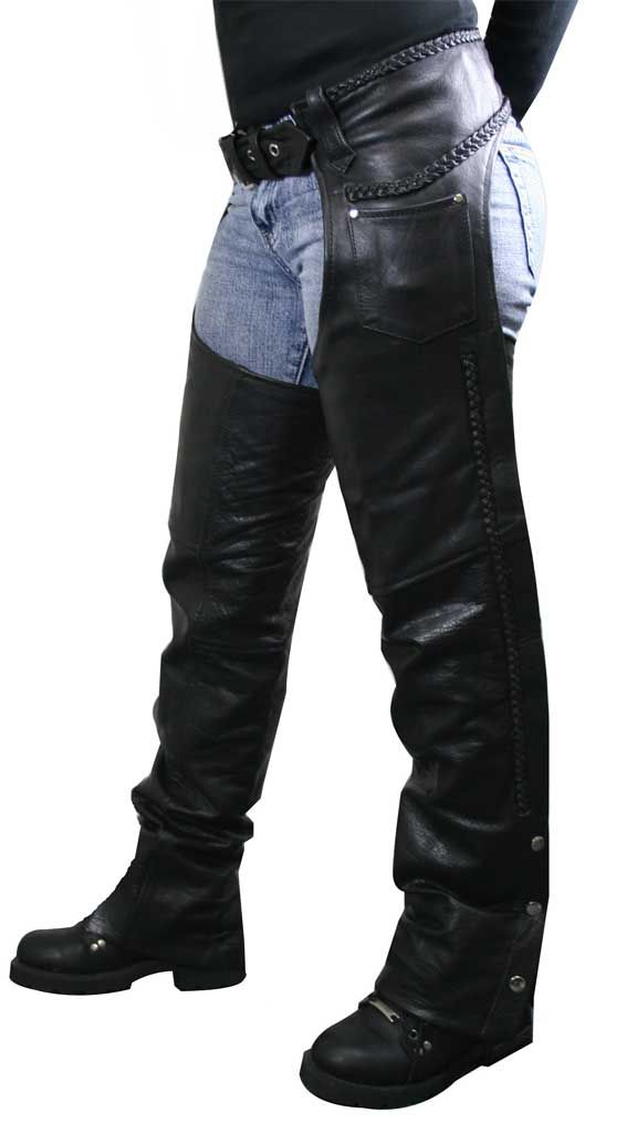 Women's Braided Black Leather Chaps   . John just bought me some chaps and boots,so we can ride his motorcycle.