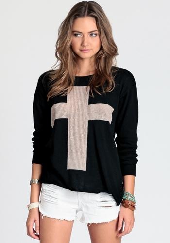 Cross Sweater By John GaltFashion, Sweaters Dresses, Crosses Pattern, Pattern Knits, Black Crosses, Pullover Sweaters, Pattern Pullover, Crosses Sweaters, Knits Sweaters