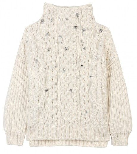 Miu Miu Beige Crystal Embellished Cable Knit Pullover