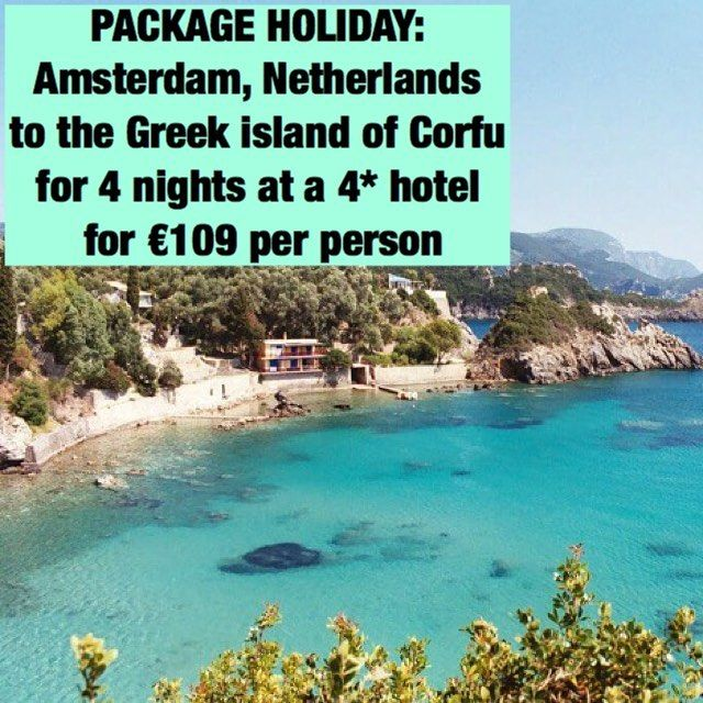 PACKAGE HOLIDAY: Amsterdam, Netherlands to the Greek island of Corfu for 4 nights at a 4* hotel for €109 per person. Link in bio #SecretFlying #travel http://tipsrazzi.com/ipost/1508713639731926903/?code=BTwBw_UAhd3
