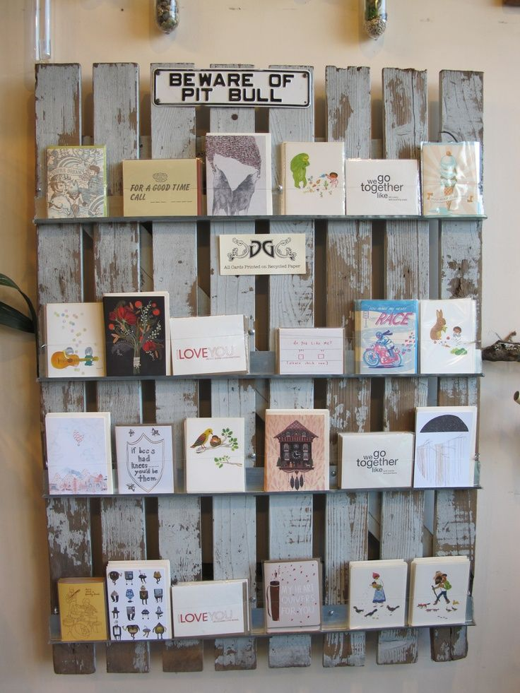 Greeting Card Display Racks for Craft Shows | rustic display of greeting cards from local small presses.