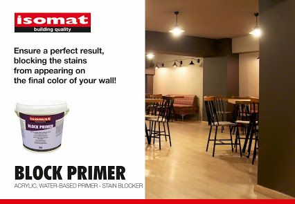BLOCK PRIMER is an acrylic, water-based, white primer, ideal for covering and blocking smoke, nicotine, exhaust fumes, water-soluble markers, pencil stains etc. Combine it with colors from ISOMAT COLOR SYSTEM and enjoy a flawless, final result!