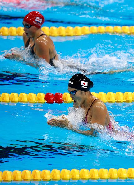 #RIO2016 Chloe Tutton of Great Britain and Rie Kaneto of Japan compete in the first Semifinal of the Women's 200m Breaststroke on Day 5 of the Rio 2016...
