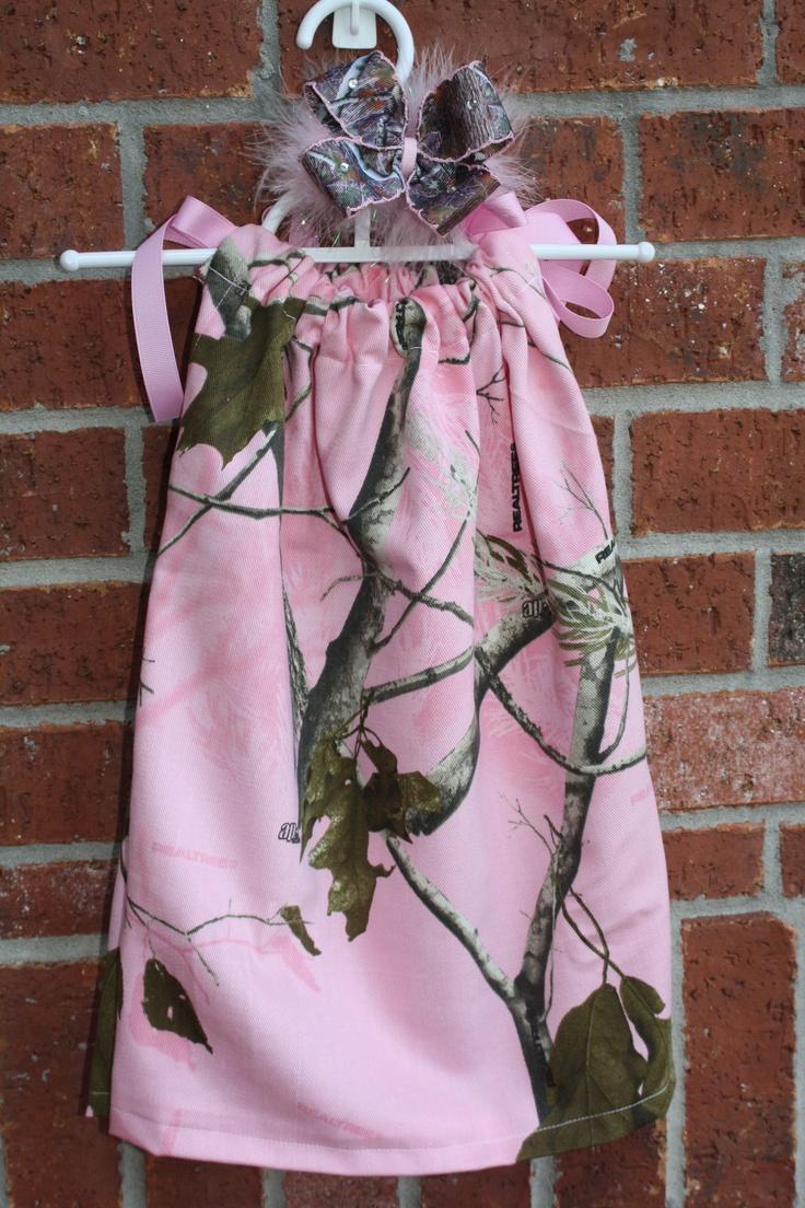 Realtree Pink Camo Dress with matching Realtree camo bow.  #Realtreecamo #camodresses