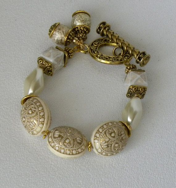 Antique Gold Handmade Beaded Bracelet by bdzzledbeadedjewelry, $34.00