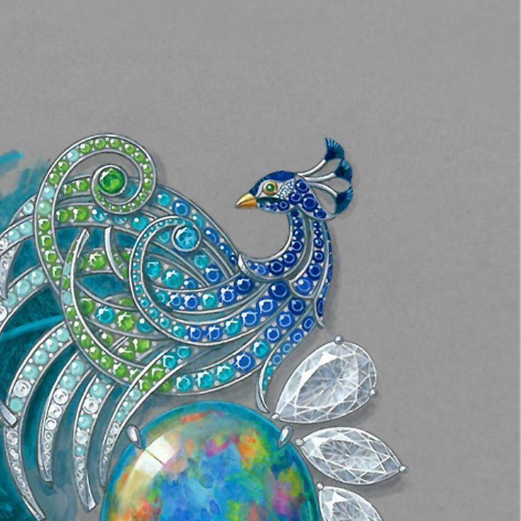 #drawing #painting #handmade #knowhow #craftsmanship #Karpov #hautejoaillerie #highjewelry #instajewelry #peacock #dibujo #opals #diamonds #watercolor #watercolorpainting #jewelryrendering #placevendome #artwork