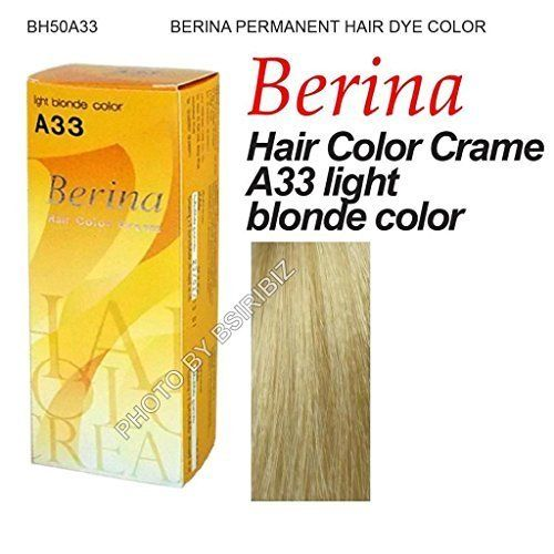 Berina Permanent Hair Dye Color Cream - -A33 light blonde colour ** Be sure to check out this helpful article. #hairstyle