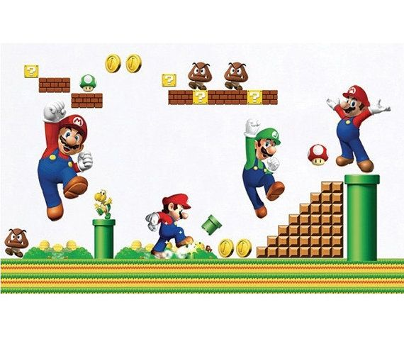 Super Mario Bros Wall Decor Decal Mural Boys Playroom by