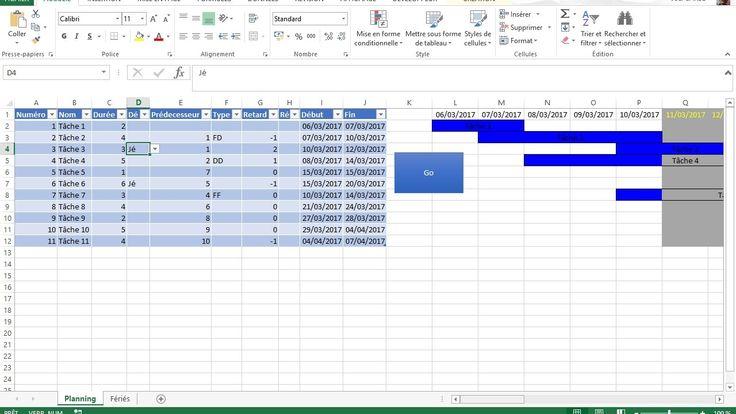 Nous revenons avec le diagramme de Gantt sur Excel, avec prise en compte de la notion de jours écoulés (durée et retard), et relations FF (Fin - Fin), DD (Début - Début) et FD (Fin - Début).  Nous restons avec le principe de durée uniquement en jours (ouvrés ou calendaires)