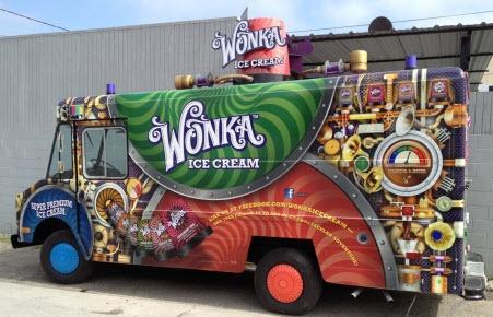 Wonderfully Wacky Wonka Wrap! FASTSIGNS of Culver City wrapped Willy Wonka's ice cream truck!